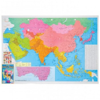 """Map Of Asia A175 - (Laminated) H28"""" x W40"""""""