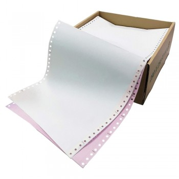 """Computer Form 9.5"""" x 11"""" 2 Ply NCR 500 Fans - White/Pink"""
